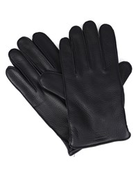 Armani Collezioni Black Logo Wool Lining Grained Deerskin Leather Gloves