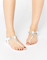 Religion Solitary Stud Toe Post Jelly Flat Sandals White