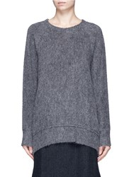 Song For The Mute Oversized Raglan Sleeve Knit Effect Sweater Grey