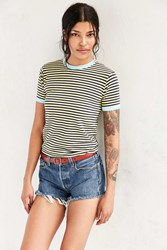 Truly Madly Deeply Jewel Stripe Ringer Tee Yellow