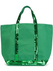 Vanessa Bruno Sequin Trim Shopping Tote Green