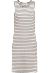Current Elliott The Louella Striped Cotton Mini Dress Gray