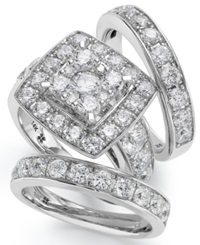 Macy's 14K White Gold Diamond Bridal Ring Set 4 Ct. T.W.