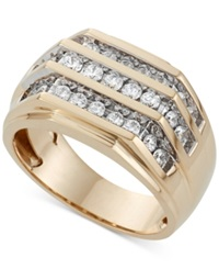 Macy's Men's Three Row Diamond Ring 1 Ct. T.W. In 10K Gold White