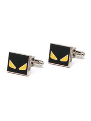 Fendi Monster Cuff Links Black Silver