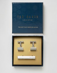 Ted Baker Cufflinks And Tie Bar Gift Set Silver