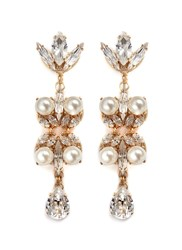 Anton Heunis Swarovski Crystal Pearl Teardrop Earrings White Metallic