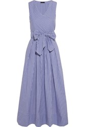 J.Crew Perry Gingham Cotton Poplin Midi Dress Blue