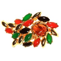 Alice Joseph Vintage 1960S Hattie Carnegie Mixed Stone Brooch Green Multi