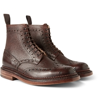 Fred Triple Welt Pebble Grain Leather Brogue Boots