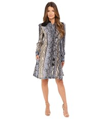 Just Cavalli Python Cortex Print Long Sleeve Skirt Dress Lavender Women's Dress Purple