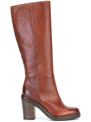 Pantanetti Under The Knee Boots Brown
