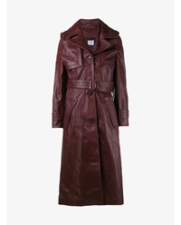 Vetements Leather Trench Coat Burgundy Black Denim