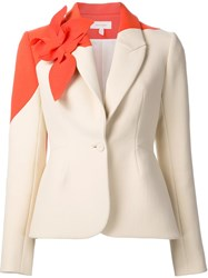 Delpozo Floral Embellished Fitted Blazer Yellow And Orange