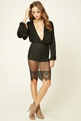 Forever 21 Semi Sheer Lace Skirt Black