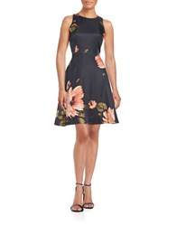 Donna Morgan Floral Fit And Flare Dress Midnight Multi