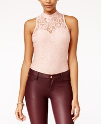Material Girl Juniors' Metallic Lace Bodysuit Only At Macy's Misty Rose Combo