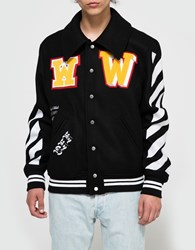 Off White Varsity With Patches Black White