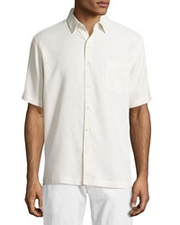 Neiman Marcus Waffle Knit Short Sleeve Shirt Off White