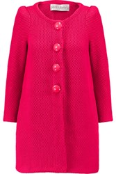 Goat Waffle Knit Cotton Coat Bright Pink