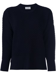 Moncler Quilted Knit Sweater Blue