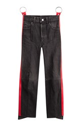 Vetements Straight Leg Jeans With Leather Black