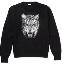 Saint Laurent Tiger Intarsia Mohair Blend Sweater Black