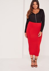 Missguided Plus Size Long Line Jersey Midi Skirt Red Red