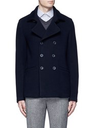 Armani Collezioni Wool Blend Flannel Peacoat Blue