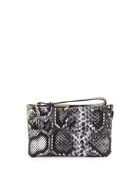 Foley Corinna Cache Leather Crossbody Wristlet Black White