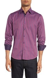 Stone Rose Men's Trim Fit Bird's Eye Stripe Sport Shirt Lavender