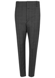 Etoile Isabel Marant Noah Checked Cropped Wool Trousers Charcoal