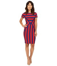 Nue By Shani Color Blocking Strip Knit Dress Red Indigo Women's Dress Multi