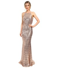 Badgley Mischka Sequin Cowl Back Halter Gown Blush Women's Dress Pink