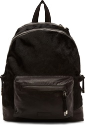 Balmain Black Leather And Calf Hair Backpack