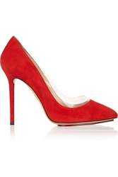 Charlotte Olympia Party Monroe Pvc Trimmed Suede Pumps