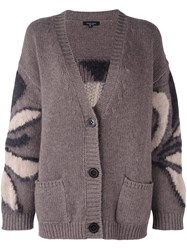Roberto Collina Floral Intarsia Cardigan Pink And Purple