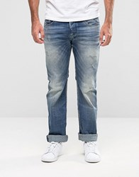 Diesel Safado Straight Jeans 857M Light Distressed Light Wash Blue