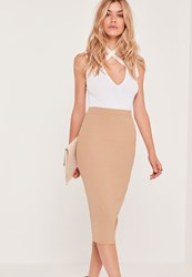 Missguided Ribbed Midi Skirt Nude Brown