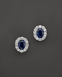 Bloomingdale's Sapphire And Diamond Oval Stud Earrings In 14K White Gold Multi