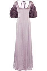 Valentino Roma Ruffle Trimmed Silk Gown Purple