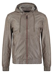 Guess Faux Leather Jacket Tumbleweed Grey