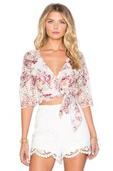 Zimmermann Epoque Broderie Flutter Wrap Top Pink