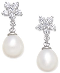 Macy's Cultured Freshwater Pearl 7X9mm And Cubic Zirconia Flower Top Drop Earrings In Sterling Silver
