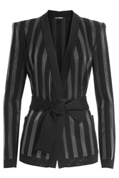Balmain Striped Knit Cardigan Black