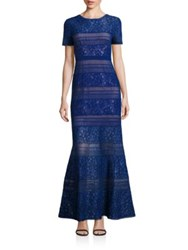 Bcbgmaxazria Lace V Back Gown Deep Royal