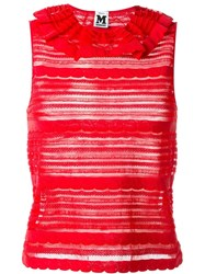 M Missoni Frill Neck Sheer Top Red