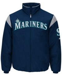 Majestic Men's Seattle Mariners On Field Thermal Jacket Navy Gray