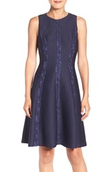 London Times Women's Lace And Knit Fit And Flare Dress