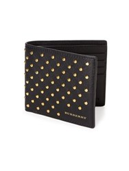 Burberry Allover Studded Leather Billfold Wallet Black